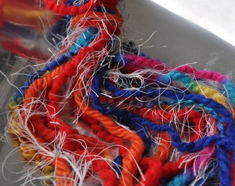 Destash Yarn - Scrap Bundle For Craft Projects - Bright Colors - Red - Blue - Orange - Yellow - Fiber Art Supplies - Textile Craft Yarns