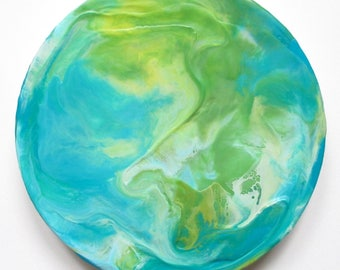 Encaustic art, full moon, abstract encaustic, moon painting, earth day, climate change art