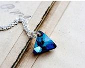 Cyber Monday Sale Crystal Necklace, Crystal Triangle, Swarovski Triangle, Blue Prism, Sterling Silver, Geometric Necklace, Geometric Pendant