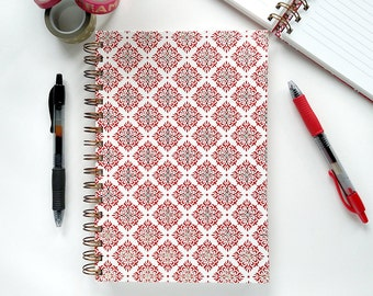 Red & Gold Lined Journal – Spiral Journal – Lined Notebook – Bullet Journal – Letterpress Cover – Paper Anniversary Gift – Writing Journal