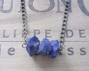 Purple Chalcedony Chunky Stone Necklace
