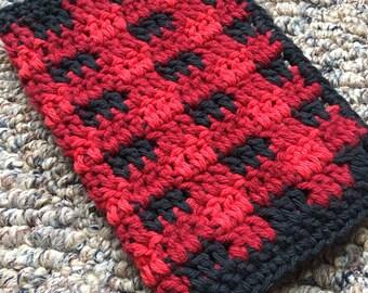 Rustic Dishcloth ~ Black and Red Plaid