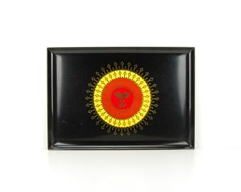 Couroc Serving Tray Vibrant Sun with Face, Resin and Brass Inlay, Red Orange & Yellow, Monterey California, Vintage Barware
