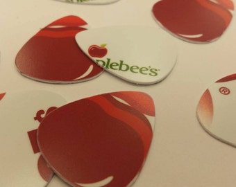 Set of 10 Upcycled guitar picks made from applebees gift card