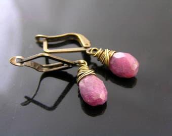 Genuine Ruby Earrings, Ruby Jewelry, Small Earrings, Short Earrings, Dangle Earrings, Earrings Handmade