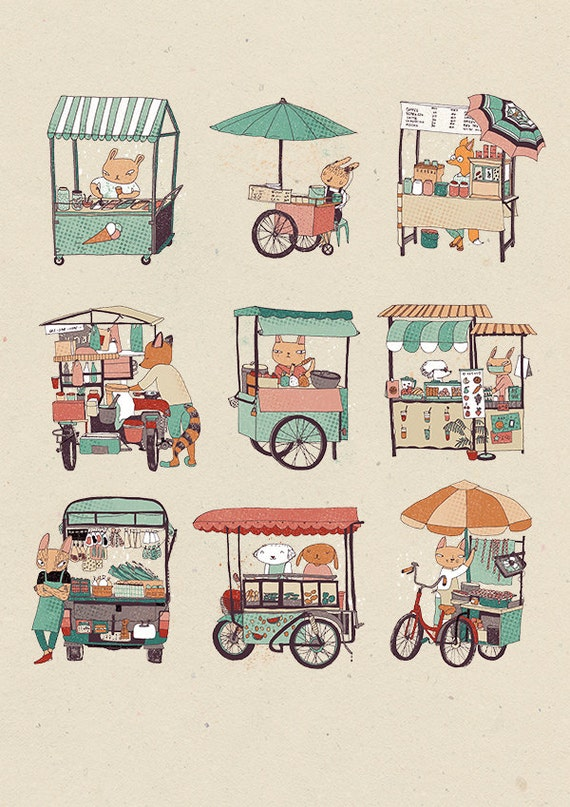 Food stalls A3 print - street food illustration print