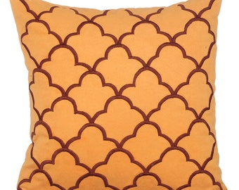 Orange Decorative Throw Pillow Covers Accent Pillow Couch Toss Sofa Pillow 16x16 Orange Suede Embroidery Lattice Pillow Cover - Tamara
