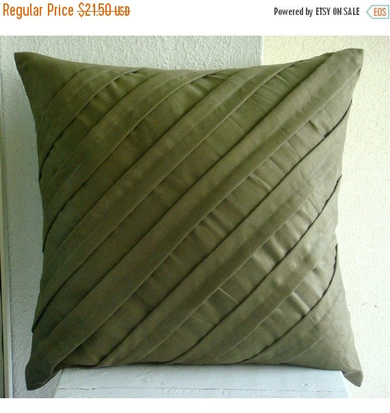 15% HOLIDAY SALE Decorative Throw Pillow Covers Couch Pillow Sofa Pillow 16x16 Inch Suede Pillow Cover Contemporary Olive Home And Living De