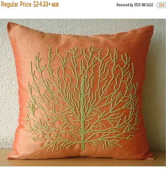 "15% HOLIDAY SALE Designer Orange Pillow Cases, 16""x16"" Silk Pillowcase, Square  Beaded Green Tree Pillows Cover - Money Tree"