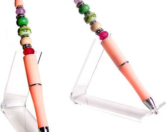 MERZIEs green PEN focal drizzle lampwork & etched glass beads add-a-bead beadable interchangeable spacer beads - SHIPs from USA