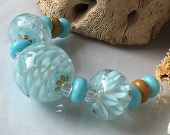Handmade Lampwork Glass Beads SRA Aqua Sand Blooms Encasement Florals (11)
