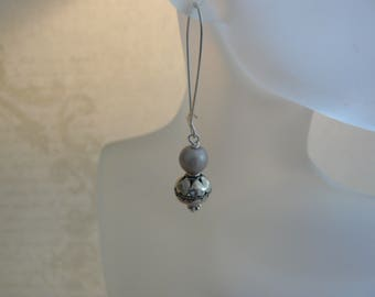 Drop Earrings, Grey Pearl Earrings, Simple Pearl Drops, Kidney Shaped Earwires, Unique Handmade Earrings, A Gift for Her, Made for  You