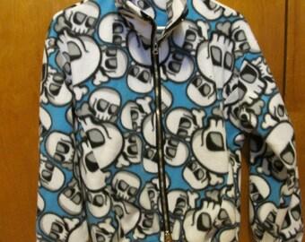 SALE - Boys Skull Print Fleece Jacket - XL/ Adult Small (4784)