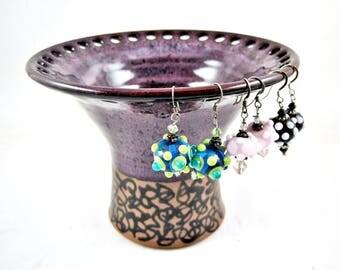 Purple Jewelry holder, Jewelry vase, Earring holder, Earring vase, Earring organizer - In stock