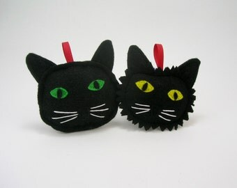 Black Cat Christmas Ornament with Yellow or Green Eyes  // Holiday Ornament // Wonderful Gift for the Pet Lover