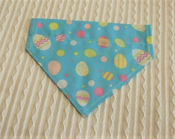 Easter Dog Bandana with Colorful Easter Eggs in Over the Dog Collar Style Sizes XS to XL
