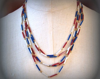 Red White Blue Necklace, 5 strand, glass bugle beads, vintage 1960s costume jewelry, patriotic colors