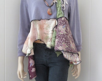 Boho Blouse Shabby Chic Flowing Layered Cotton Knitwith Vintage Lace Tattered Distressed Vintage One Size Fits S - L