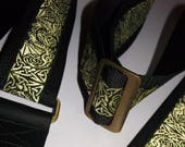 Metallic Gold Celtic Dragon Embroidered Trim on Black GUITAR STRAP