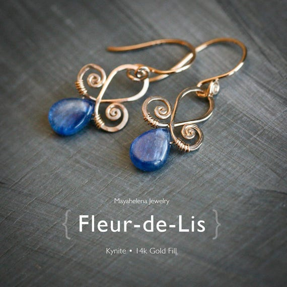 Fleur-de-Lis - 14k Gold Fill Wrapped Kynite Dangle Earrings - September Birthstone