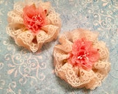 Shabby Chic Rosette, Lace and Organza Fabric Flower, Home Decor, Embellishment, Hair, Wedding, Package Topper, Hat Bag Flower, Brooch Supply