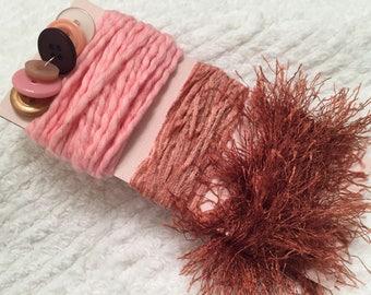 Art Yarn Bundle, Fiber Card, Buttons, Hobby Fiber, Fiber Jewelry, Doll Clothes, Scrapbook, Art Sewing, Junk Journal, Smash Book, Ornaments