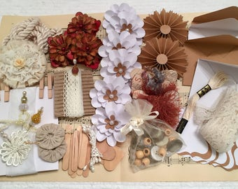 Inspiration Kit, Neutrals, Scrapbook, Paper Flowers, Fabric Rosettes, Mixed Media, Journal, Cards, Tags, Die Cuts, Vintage Music Sheets