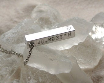 Home is Where the Heart is Custom Stamped Coordinates Necklace