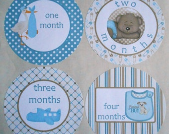 BABY BOY BLUE-Monthly Bodysuit Stickers-set of 13