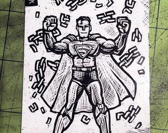 Superman Scratchboard Art Card