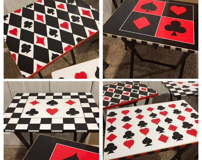 Whimsical Painted Furniture, Painted Tray Table set, whimsical Painted Furniture