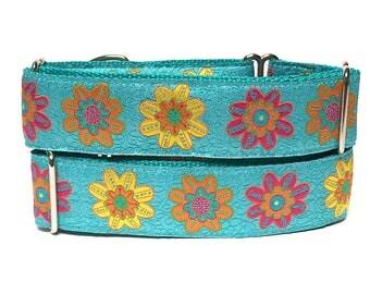 "Teal floral martingale dog collar 1.5"" wide, SPRING FEVER, Safety Collar, Greyhound Collar, Sighthound Collar, Adjustable"