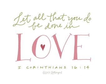 Love Poster: PDF, Digital Download, Handwritten, Scripture