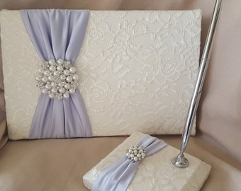 Lavender Lilac Ivory Lace Wedding Guest Book and Pen Set Ivory Bridal Lace Pearl Rhinestone Accent Unique Latte