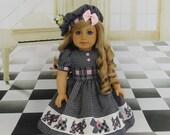 RESERVED**  Scottish Terrier - dress & beret for American Girl doll **RESERVED**