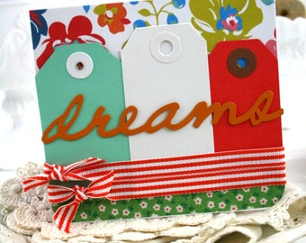cottage chic greeting card-DREAMS-GRADUATE encouragement card