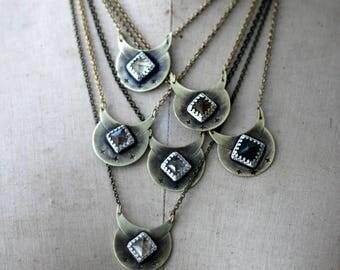 Luna Monolith Pendant in Brass & Sterling Silver
