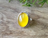 Artisan yellow silver ring - Canary ring - Bezel ring - Gemstone ring - Chalcedony ring - Oval ring - Gift for her