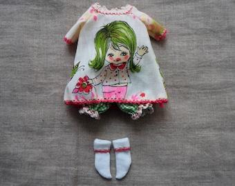 OOAK 3 piece smock dress set for Blythe (lime green)