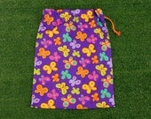 Butterflies medium purple drawstring bag for gifts, toys, books, shoes