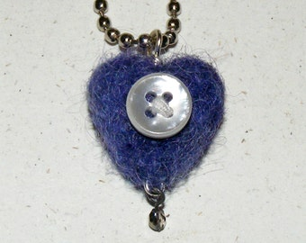 Wool Needle Felted Purple Heart with Mother of Pearl Button Necklace