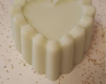 Coconut Oil Soap Fresh Mint Heart shaped ruffle soap light green
