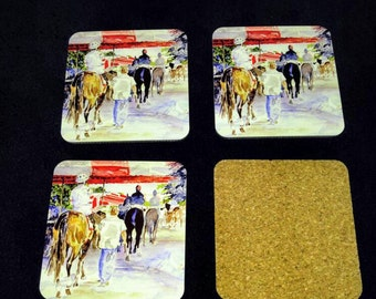 Paddock to Post cork backed coasters