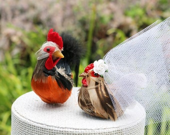 Last one! Barnyard Chicken Wedding Cake Topper: Farm Fancy Bride & Groom Love Bird Cake Topper