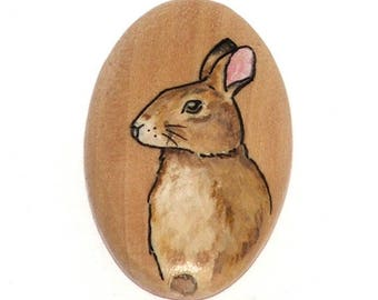 Wooden bead - rabbit, hand painted, 35x20mm