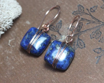 Lapis Earrings Copper Wire Wrapped Blue Gemstone Earrings Rose Gold and Blue Earrings