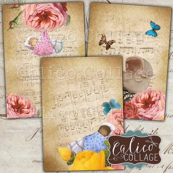 Printable Sweet Baby Digital Collage Sheet, Gift Tags, Journal Spots, Printable Ephemera, Baby Shower Cards, Greeting Cards, Junk Journal