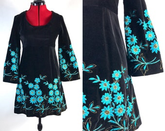 1960s 1970s Velvet Bell Sleeve Teal Embroidered Baby Doll Dress // Empire Waist // A Line // Dream Dress!  // Medium