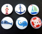 6 Nautical or  Sea Life Buttons.  Sailboat, Lighthouse, Dolphin, Whale, Anchor and Life Saver.   Handmade by Me.  Washer and Dryer Safe.