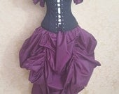 BLACK FRIDAY SALE Purple Plum Steampunk Midi Length All Around Bustle Skirt-One Size Fits All